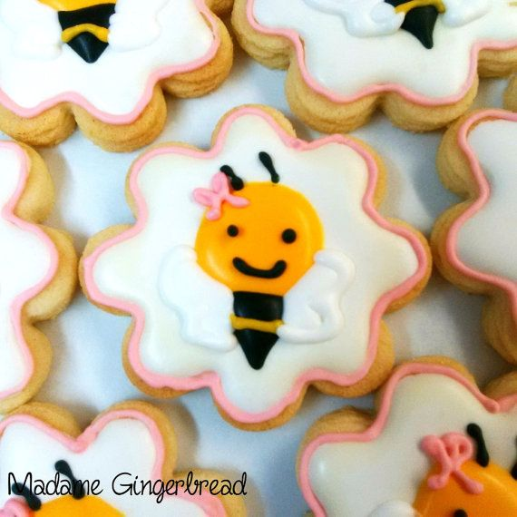 Bees Knees Cute Adorable Hand Decorated Artisan Sugar Cookies for Baby Shower - One Dozen
