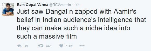 Ram Gopal Varma praises Aamir Khans Dangal but takes a dig at other Khans