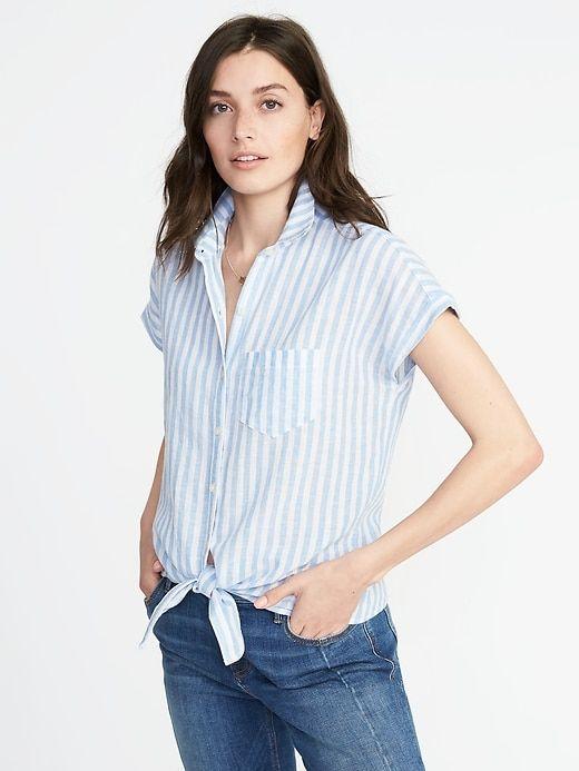 3838567c65fc7 Relaxed Tie-Front Linen-Blend Shirt for Women