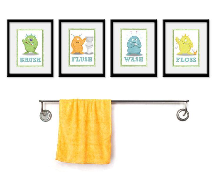 Bathroom Monster Kids Art Set Of Four 5 X 7 Bathroom Decor Prints Monster Kids Decor Children Wall Art Bathroom Art Kids Bathroom