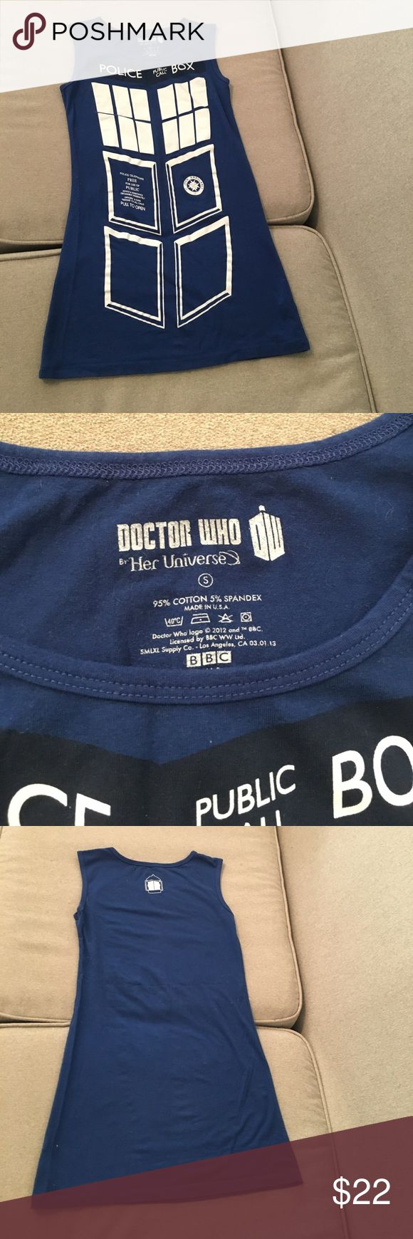 Doctor Who Police Box Dress Sz Small Doctor Who Police Box Dress Size Small. 95% Cotton 5% Spandex. Dresses Mini