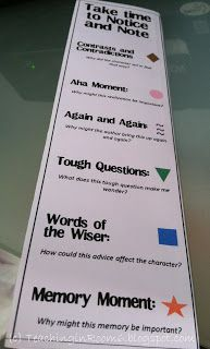 A bookmark to give the kids so they can better access the close reading strategies