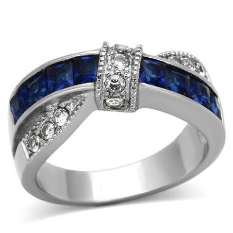 Thin Blue Line Women's 1.75 Ct Blue Montana Sapphire Cz Stainless St – ThinRedBlueLine