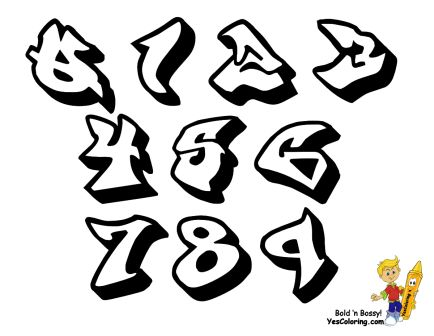 Graffiti Numbers Chart For Coloring at YesColoring