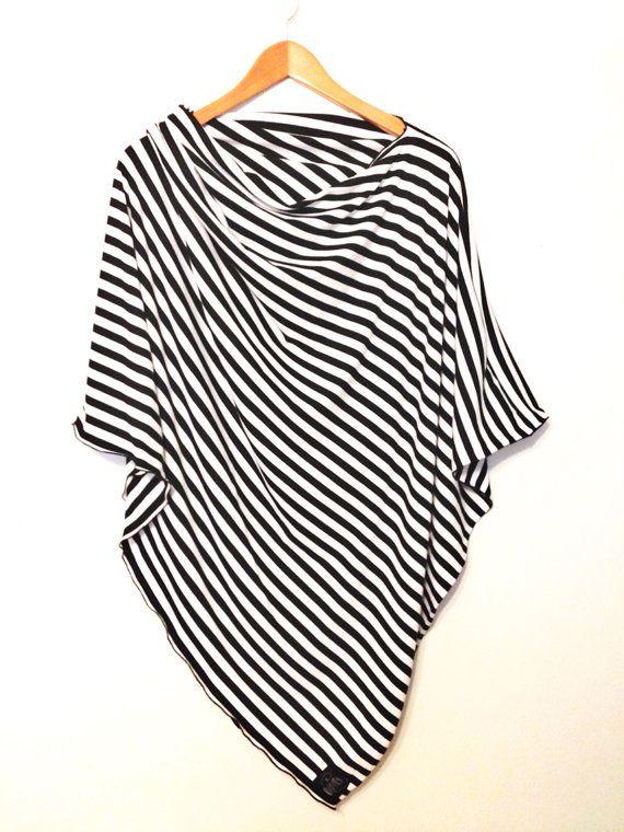 Black and White Striped Nursing Cover/ Nursing Poncho/ Full Coverage/ Breastfeeding/ Nursing Shawl $34