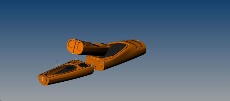 Switchblade 17ft sectional modular sea kayak nesting the final piece.