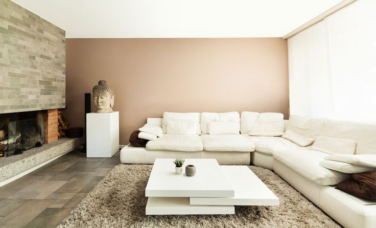 Bruine wand woonkamer verfkleur