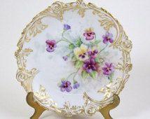 "Antique L Sazerat Limoges Plate Purple & Yellow Pansies 1891-1900 Scalloped 6"""