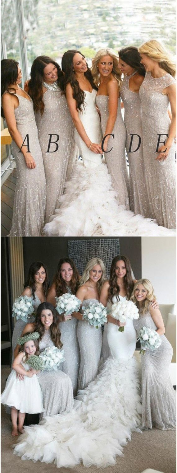 Silver Bridesmaid Dresses, Long Prom Party Dress, Mermaid Shiny Bridesmaid Wedding Party Dresses