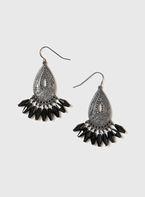 Womens Silver Filigree Chandelier Earrings- Clear