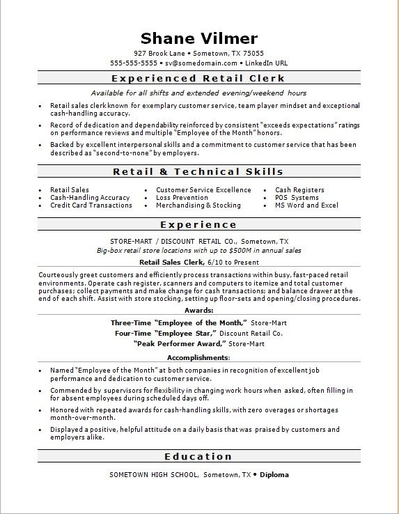 Retail clerks must be personable and exude customer service. Make sure your resume demonstrates these qualities to an employer with this sample.