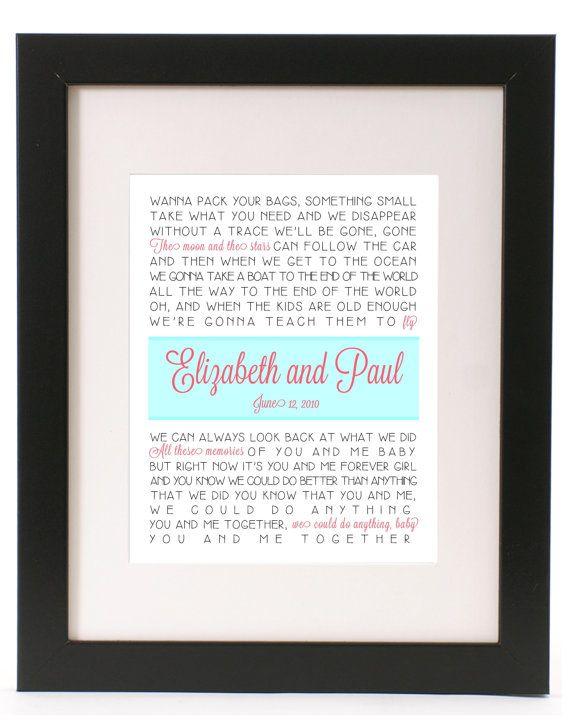 Wedding First Dance Lyrics You And Me Dave Matthews Print