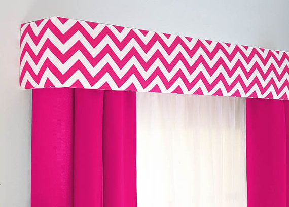 Hot Pink Chevron Cornice Board Valance Window Treatment - Custom Curtain Topper in Modern Fuchsia Zig Zag Fabric