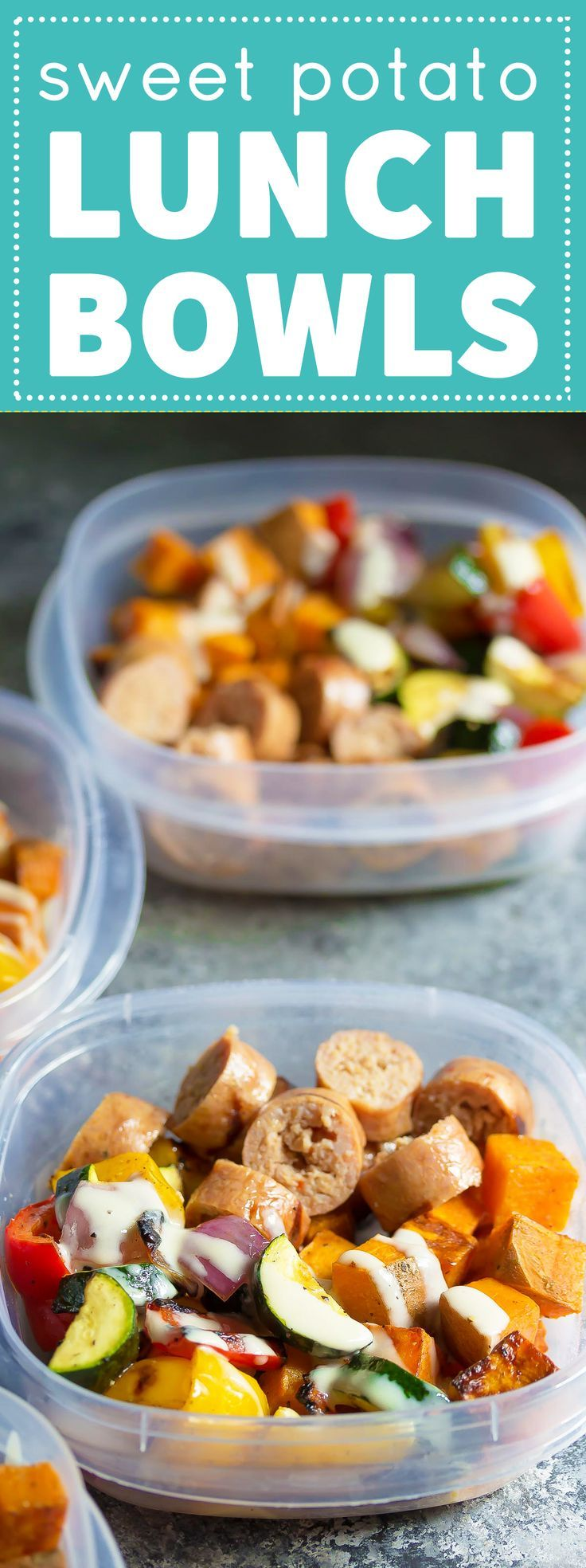Make these Turkey Sausage & Sweet Potato Lunch Bowls on Sunday and have a whole week of work lunches ready! #mealprep