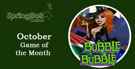 #SpringbokCasino : #BubbleBubbleSlot is the Game of the Month  Bubble Bubble is the game of the month at Springbok Casino. Earn double comp points while playing it and get October bonuses and free spins.  https://www.playcasino.co.za/blog/springbok-bubble-bubble-game-month/