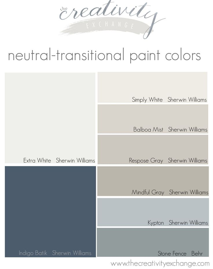 Neutral-transitional paint colors. How a paint color strategy can help you automatically choose colors for your home. The Creativity Exchange