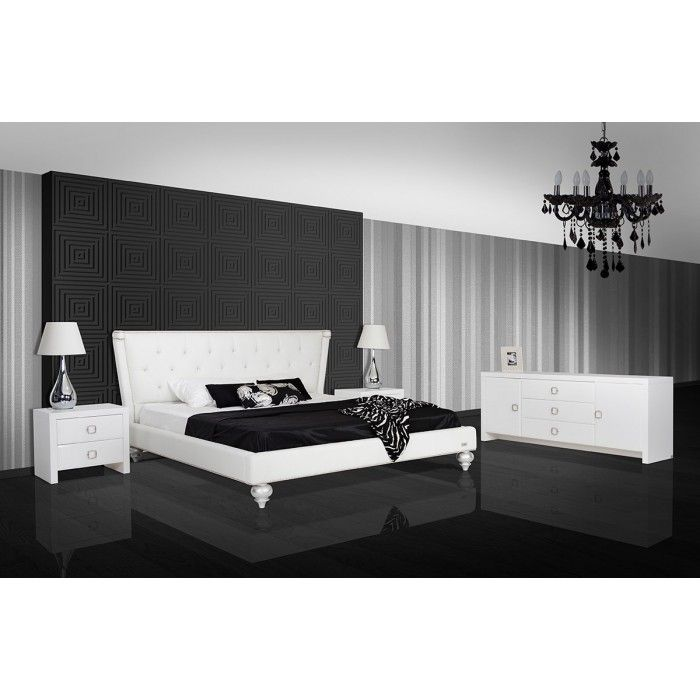 Monica Transitional White Leather Bed
