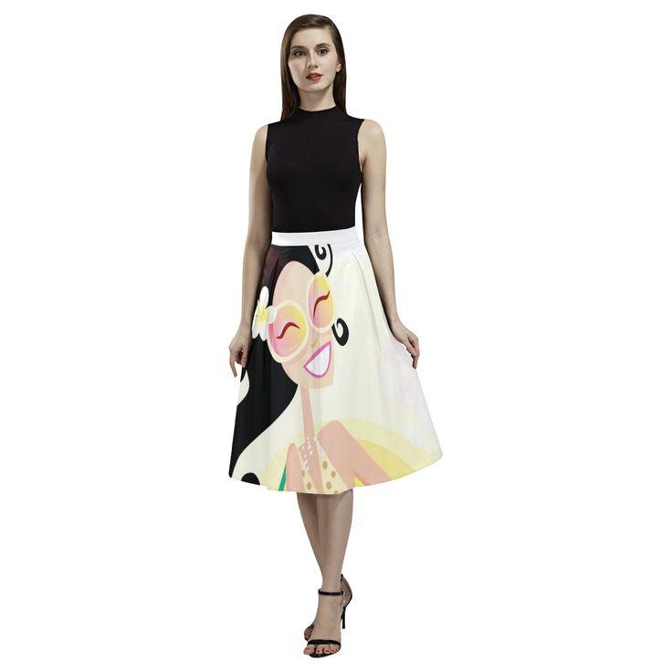 Ladies designers long skirt : Beach girl Aoede Crepe Skirt(Model D16).