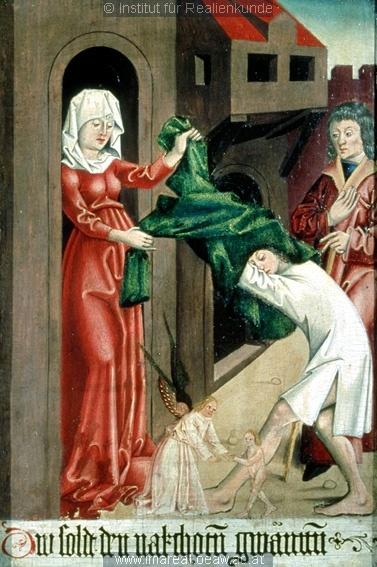 Works of Mercy. Werke der Barmherzigkeit; Einrichtung sakral ; Flügelaltar ; Meister S. H. von 1485; Linz, Austria, Schloßmuseum