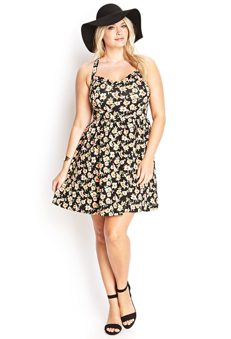 Floral Print Fit & Flare Dress #F21Plus: