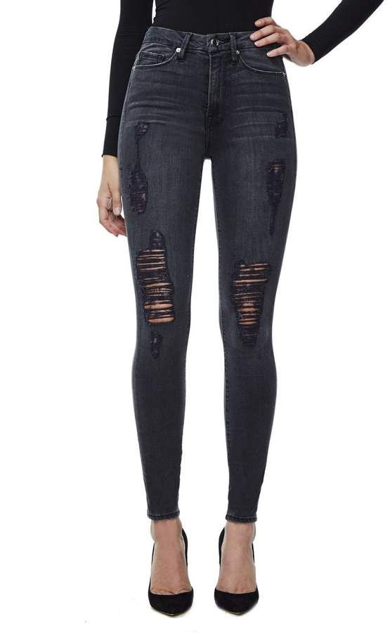 a61fcdfe0f4dd Good American Good Waist Black High Waisted Ripped Jeans | High rise ...