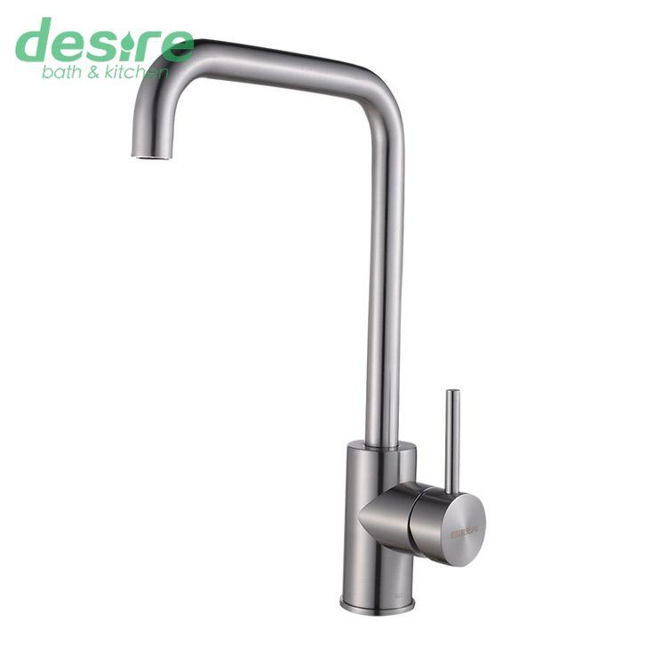 304 robinet de cuisine en acier inoxydable brossé eau chaude et froide mélangeur de cuisine, accessoires de dans  de  sur Aliexpress.com