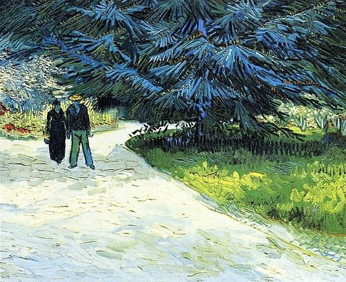 Vincent van Gogh: Public Garden with Couple and Blue Fir Tree: The Poet's Garden III.  Oil on canvas.  Arles: October, 1888.   Private collection.  (Info from vggallery.com)