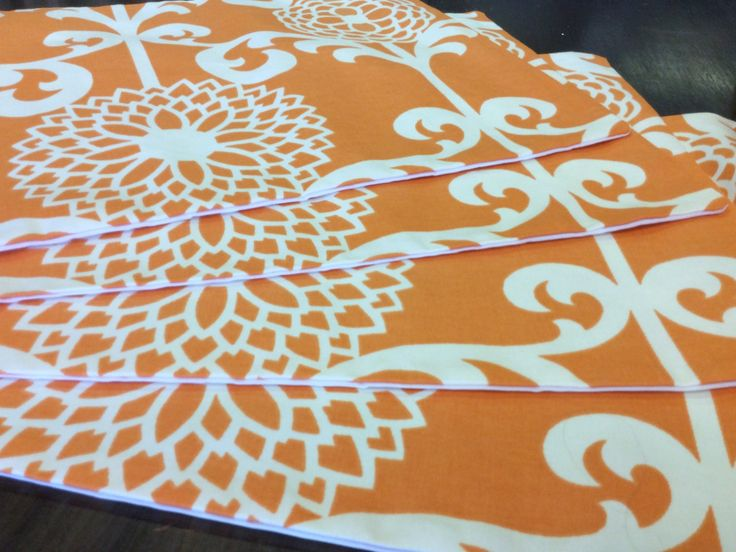 Orange And White Placemats, Place Settings W/ Flowers And Vines, Sets Of 2.  White PlacematsPlace SettingsVinesFormalDining Rooms