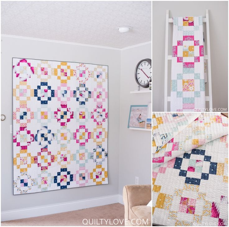 Jelly Rings Quilt Pattern by Emily of quiltylove.com.   This modern quilt pattern uses jelly roll strips to create a quick and easy quilt.   Made up of 4 patches and an emerging plus shape quilt.