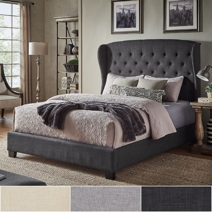 Vivianne Tufted Linen Wingback Bed With Nailhead Trim By