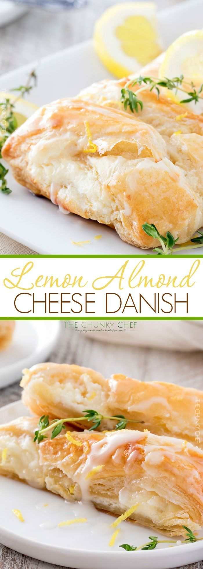 Lemon Almond Cheese Danish | Breakfast pastries don't have to be complicated... this delicate and delicious lemon almond cheese danish is made easy in 30 minutes with puff pastry! | http://thechunkychef.com