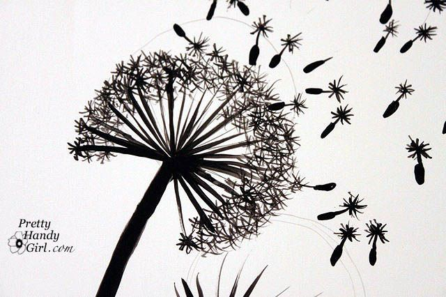 """Finish up by adding leaves to the underside of the dandelion. Use your liner or round brush to create an an elongated """"S"""" shape."""