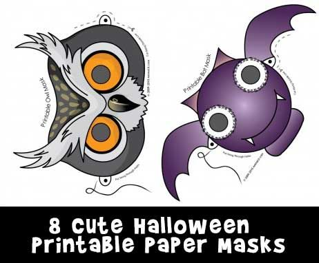 8 Free Printable Halloween Masks Of A Super Cute Owl Bat Black Cat And Spider There Also Mask Coloring Pages Each Animal Too