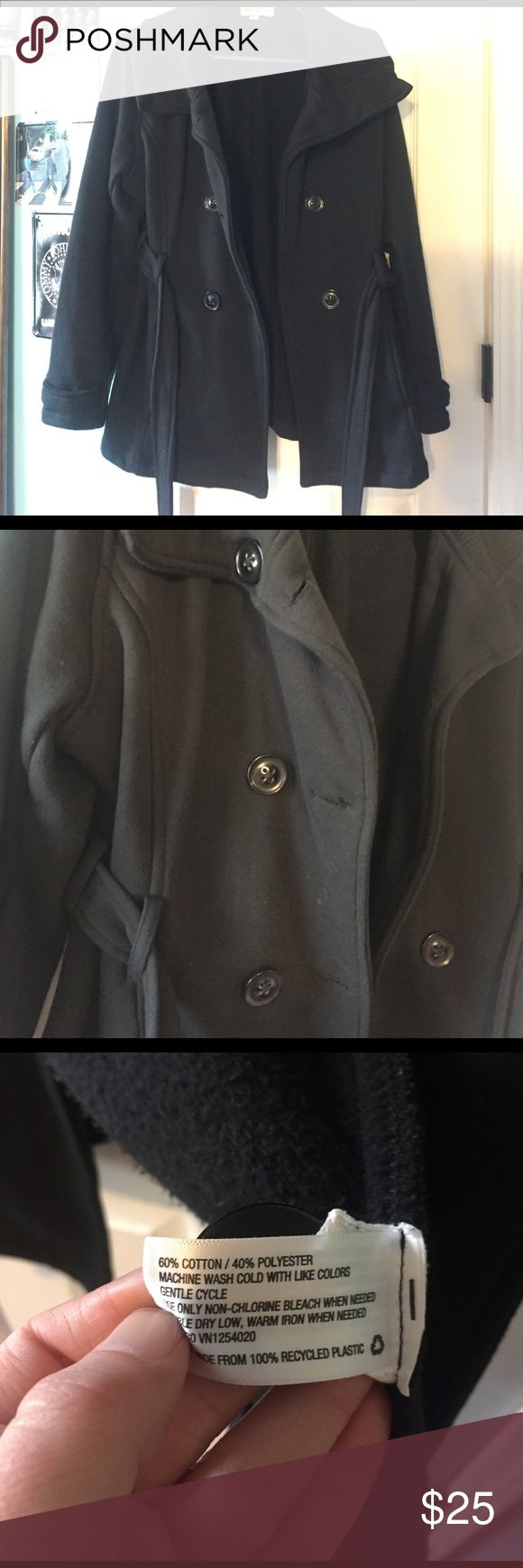 Black pea coat Black Merona pea coat made of polyester and cotton. Very warm and comfy. Worn a couple of times. It in great shape! Merona Jackets & Coats Pea Coats