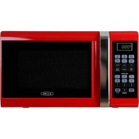 Bella 0.9 cu ft 900W Digital Microwave Oven, Red, Multicolor