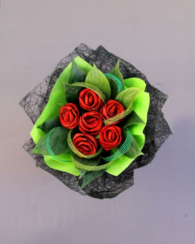 1/2 Dozen Flax Valentines Roses by Artiflax