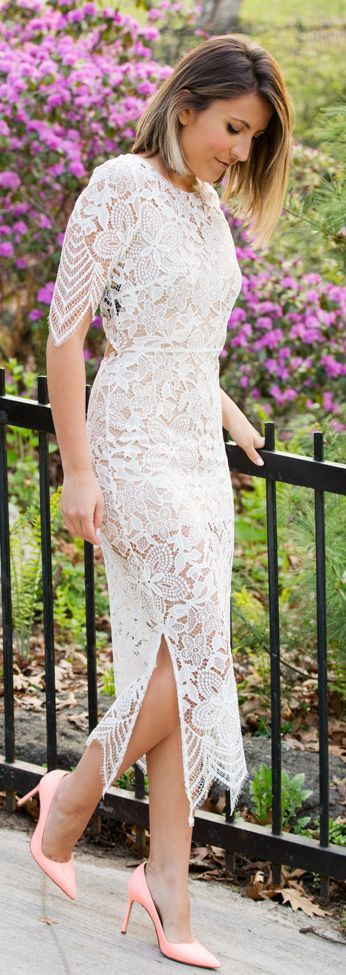 Lace Midi Dress Bridal Style by Stephanie STERJOVSKI