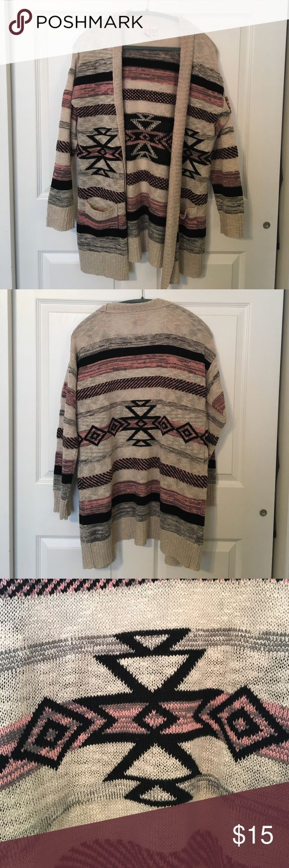 Tribal print Cardigan Gray, black, pink, and beige cardigan with cute tribal pattern. Perfect for fall and winter with leggings and boots :) love on a hanger Tops