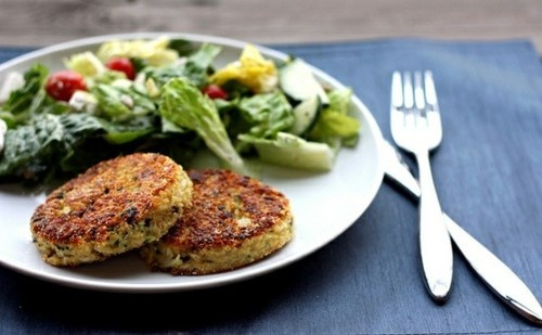 Quinoa Cakes with Lemon, Olives, and Parsley