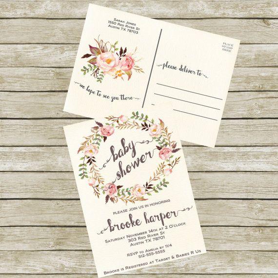Baby Shower Invitation Postcard Printable by SunbirdPrintables