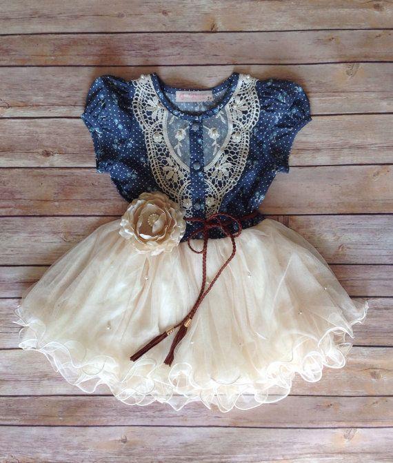 Navy Ivory Toddler Girls Tutu Dress, Vintage Girls Dress, Western Denim Dress, Flower Girl Dress, Easter Birthday Dress,Rustic Beach Wedding...