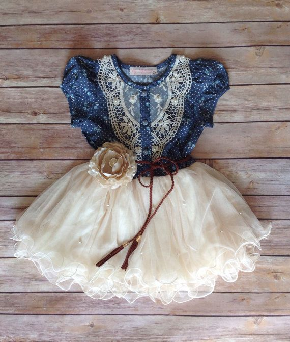 Navy Ivory Toddler Girls Tutu Dress, Vintage Girls Dress, Western Denim Dress, Flower Girl Dress, Easter Birthday Dress,Rustic Beach Wedding...