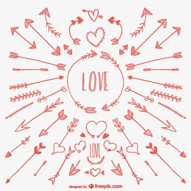 Love Arrows Drawings Free Vector