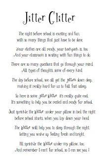 Mrs. Miner's Kindergarten Monkey Business: Jitter Glitter Poem as Requested!