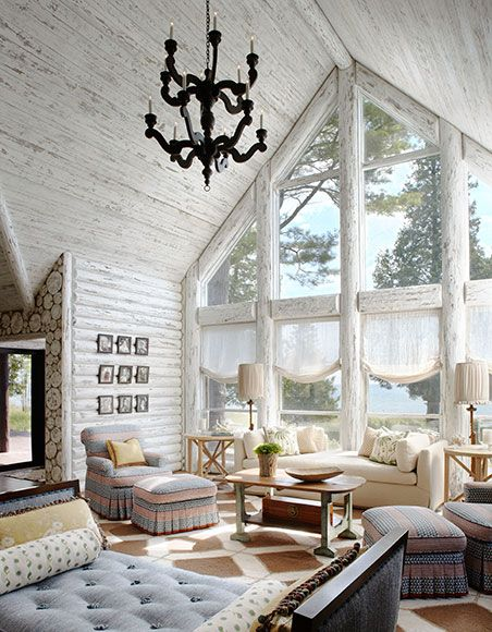 Whitewashed Lake Cabin By Jessica Jubelirer Design I Like The Ceilings White Wash But Not Large Logslittle Too Rustic