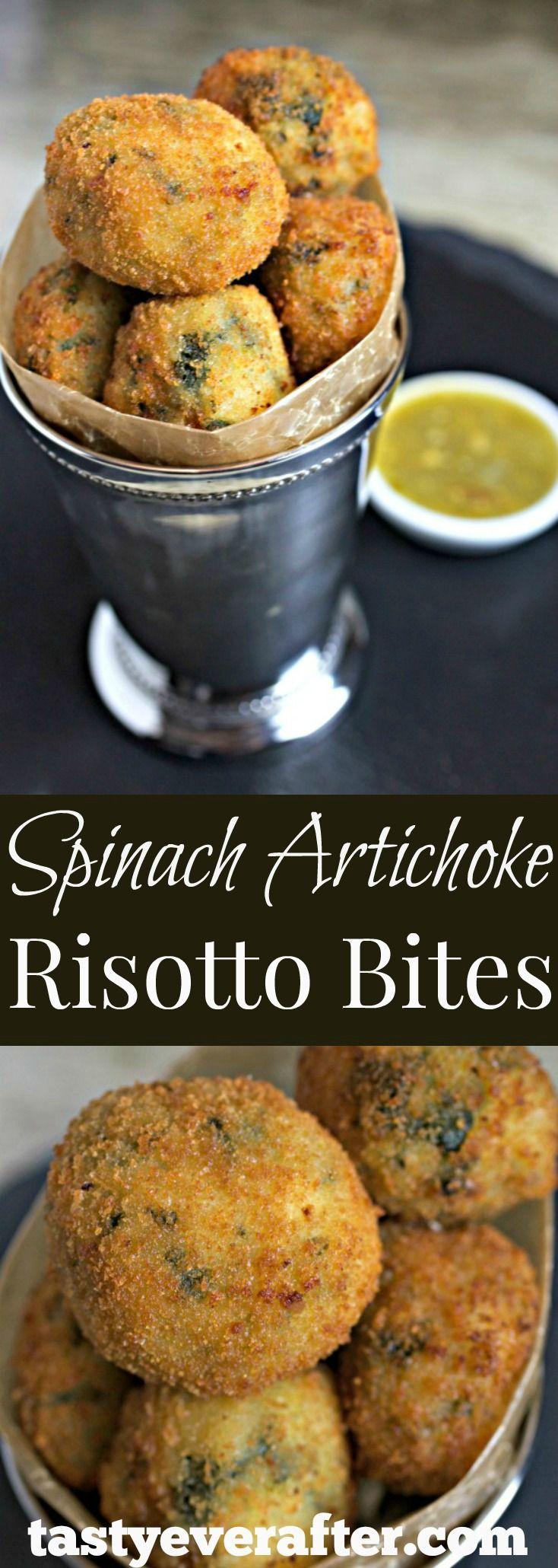 Got leftover risotto?  Make crispy risotto bites!  Recipe for cheesy Spinach Artichoke Risotto included.