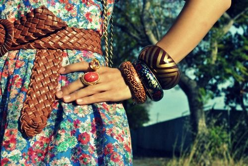 floral dress, brown belt, red ring and 3 bangles :)