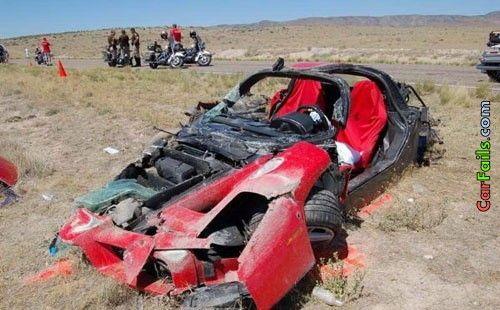 Ferrari crashed beyond recognition | Car Fails