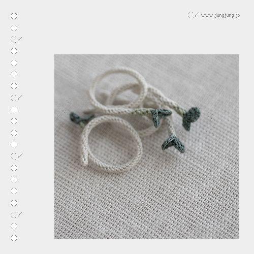 "jungjung.jp crochet ""sprout"" rings"