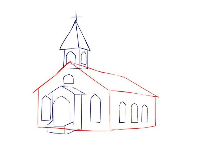 How To Draw A Church Church Art Easy Canvas Painting Barn Painting